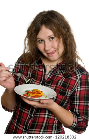 portrait of attractive woman with salad over white