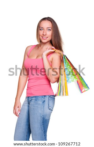 portrait of attractive woman with shopping bags. isolated on white background - stock photo
