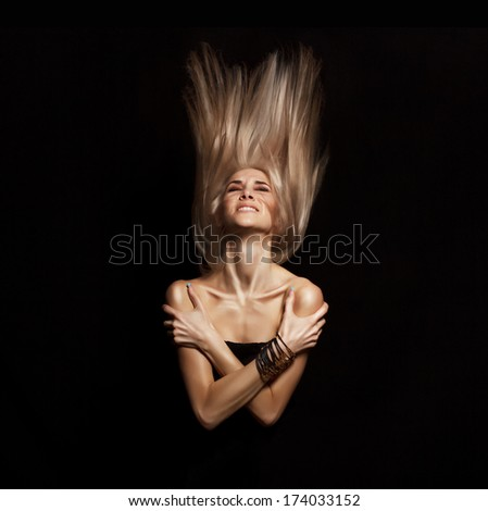 Portrait of attractive woman with strong dramatic emotion on here face - stock photo
