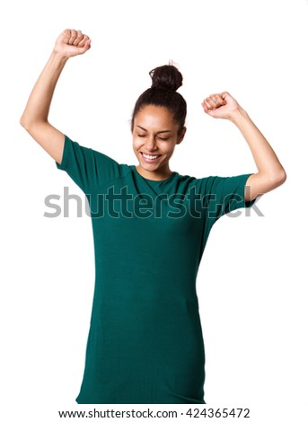 Portrait of attractive young african woman with hands raised in celebration - stock photo