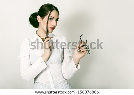 portrait of attractive young businesswoman - stock photo