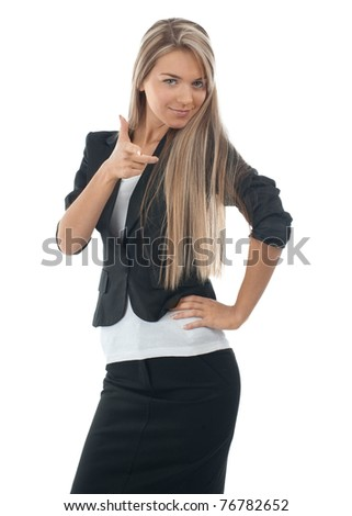 Portrait of attractive young businesswoman pointing at viewer, isolated on white