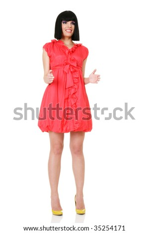 Portrait of attractive young woman with creative make-up posing like doll - stock photo