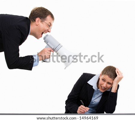 Portrait of authority businessman shouting at his colleague - stock photo