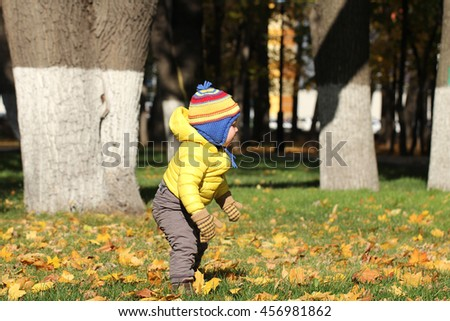 Portrait of baby boy in autumn park - stock photo