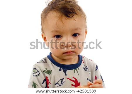 Portrait of Baby Boy with a Running Nose - Isolated over a white background - stock photo