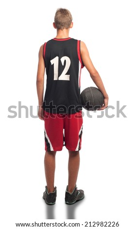 portrait of basketball player on white background - stock photo