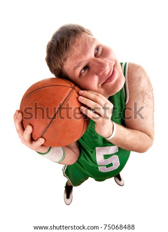 Portrait of basketball player with ball. Isolated on white - stock photo