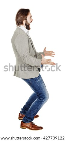 portrait of bearded business man with arms wide open. emotions, facial expressions, feelings, body language, signs. image on a white studio background.