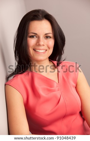 portrait of beatiful well-dressed mid-age woman - stock photo