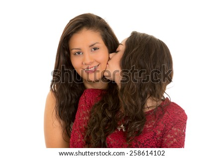 portrait of beautiful affectionate lesbian couple in love isolated on white - stock photo