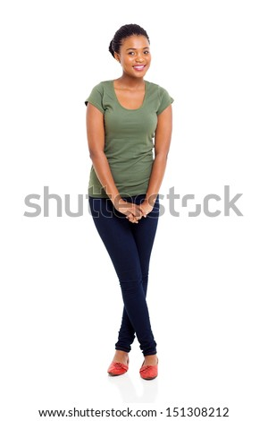 portrait of beautiful african america woman on white background - stock photo