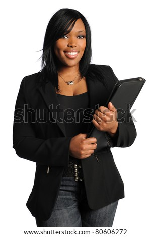 Portrait of beautiful African American businesswoman holding ledger isolated over white background - stock photo