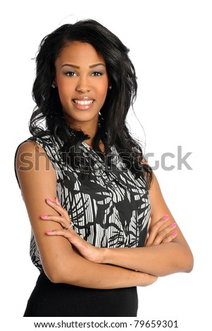 Portrait of beautiful African American businesswoman smiling isolated over white background - stock photo