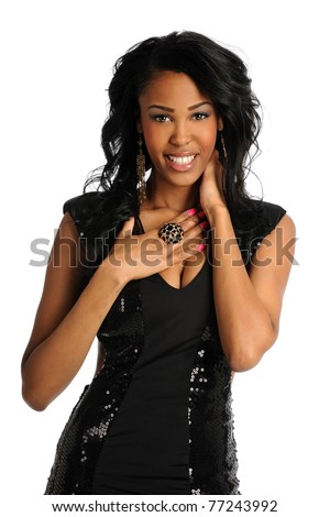 Portrait of beautiful African American woman in black glitter dress isolated over white background - stock photo