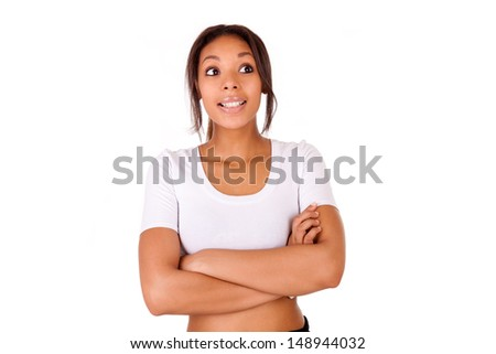 Portrait of beautiful African American woman isolated - stock photo