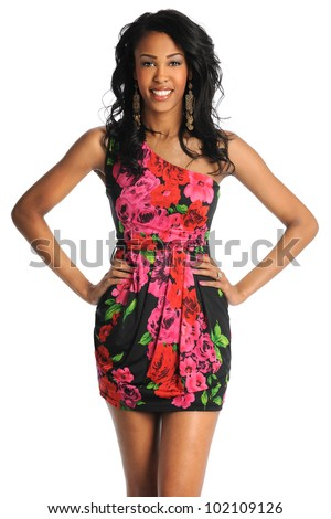 Portrait of beautiful African American woman posing isolated over white background - stock photo