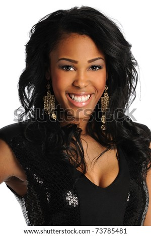 Portrait of beautiful African American woman smiling isolated over white background
