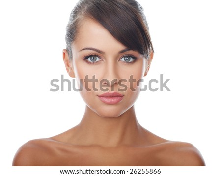 Portrait of beautiful and sexy woman on white