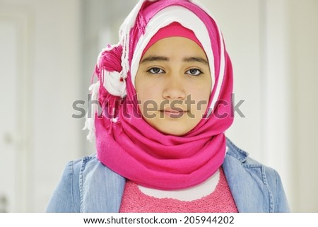 Portrait of beautiful Arabic girl posing - stock photo