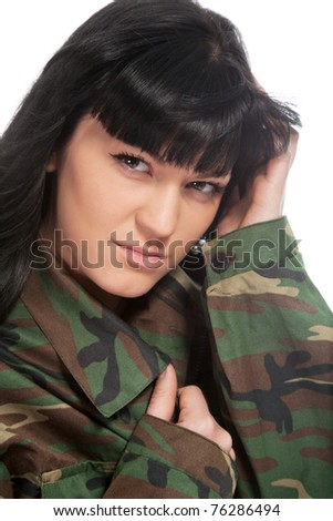 Portrait of beautiful army girl isolated background