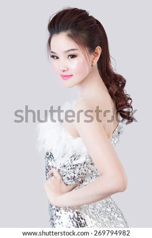 portrait of beautiful asian woman model - stock photo