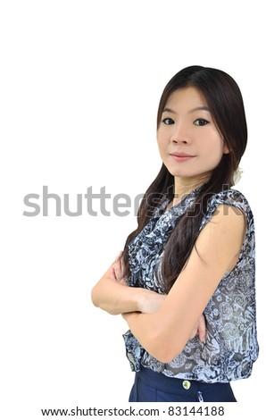 Portrait of beautiful asian woman on white background - stock photo