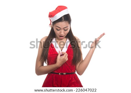 Portrait of beautiful Asian woman wearing Santa Claus clothes,(Santa girl,Santa woman),christmas, x-mas, winter, happiness concept, frightened,shocked,Human emotions,isolated on white background  - stock photo