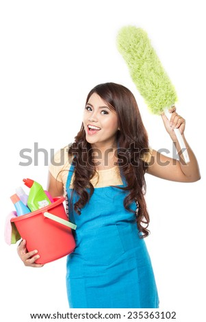 portrait of beautiful asian woman with many cleaning equipment - stock photo