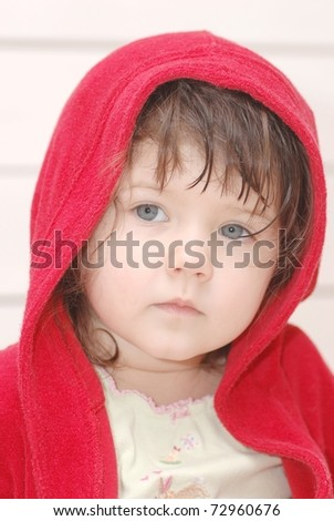 Portrait of beautiful baby after the bath - stock photo