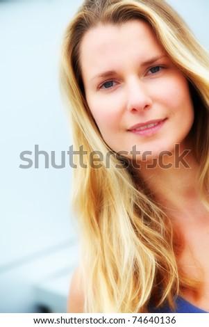 Portrait of beautiful blond woman - stock photo