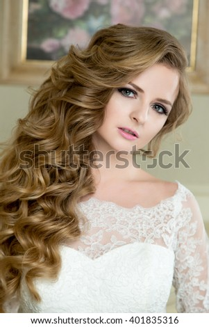 Portrait of beautiful blonde Bride with wedding makeup and hairstyle fashion bride model jewelry and beauty female face, gorgeous beauty bride,bride in luxury wedding dress, - stock photo