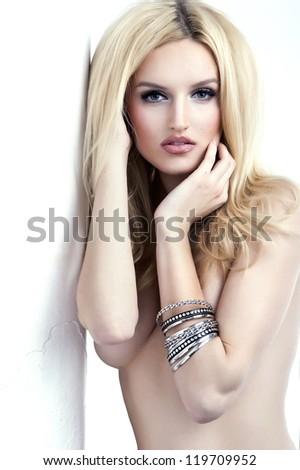 Portrait of beautiful blonde woman - stock photo