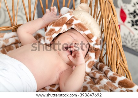 Portrait of Beautiful Boy Lying in Wicker Basket. Adorable Baby Asleep in His Cradle by a Window. Kid Sleeps in Knitted Crib with Tiger Patterns on Blanket. Cute Little Newborn Girl Sleeping in Cradle - stock photo