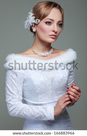 Portrait of beautiful bride. Wedding dress. Wedding decoration - stock photo