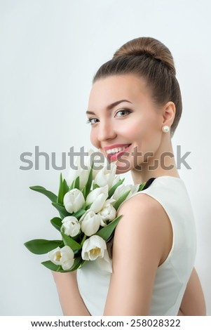 Portrait of beautiful bride. Wedding make up. Wedding decoration. - stock photo