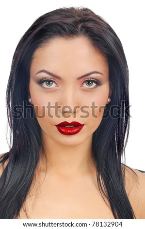 portrait of beautiful brunette girl with beautiful red lips
