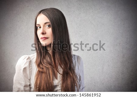 portrait of beautiful brunette woman - stock photo