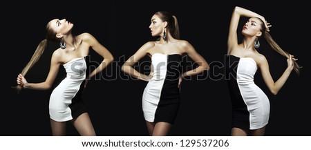 Portrait of beautiful brunette woman in black dress - stock photo