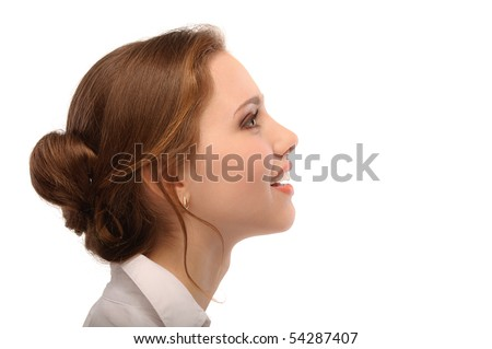 Portrait of beautiful business woman in profile, isolated on white background. - stock photo