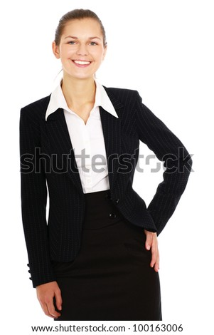 Portrait of beautiful business woman smiling on white background - stock photo
