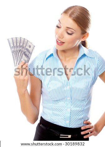 Portrait of Beautiful business woman with dollar banknote
