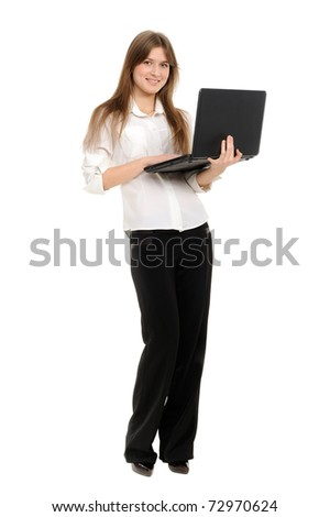 Portrait of beautiful business woman with laptop - stock photo