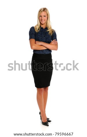 Portrait of beautiful businesswoman isolated over white background - stock photo