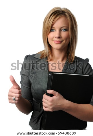 Portrait of beautiful businesswoman showing thumbs up isolated over white background