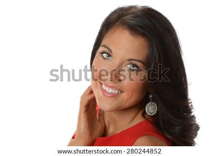 Portrait of beautiful businesswoman smiling isolated over white background - stock photo