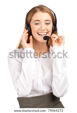 Portrait of beautiful call center operator with headset. Isolated on white background - stock photo