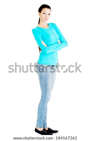 Portrait of beautiful casual woman. Isolated on white. - stock photo