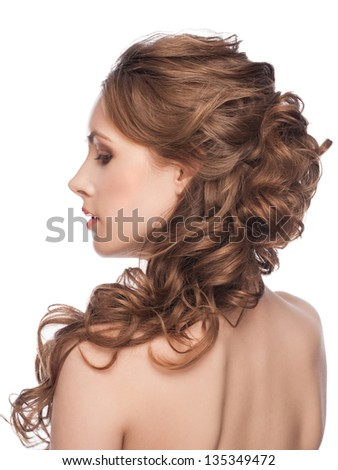 Portrait of Beautiful Caucasian Woman with Long Brown Curly Hair. Bridal hairstyle, isolated on white background