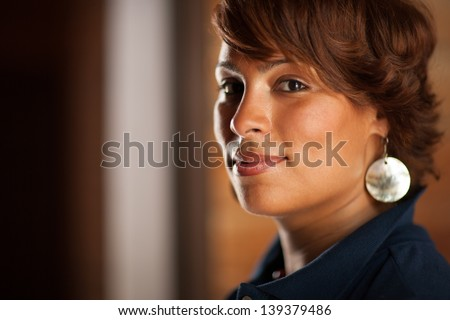 Portrait of beautiful confident African American woman, closeup. - stock photo
